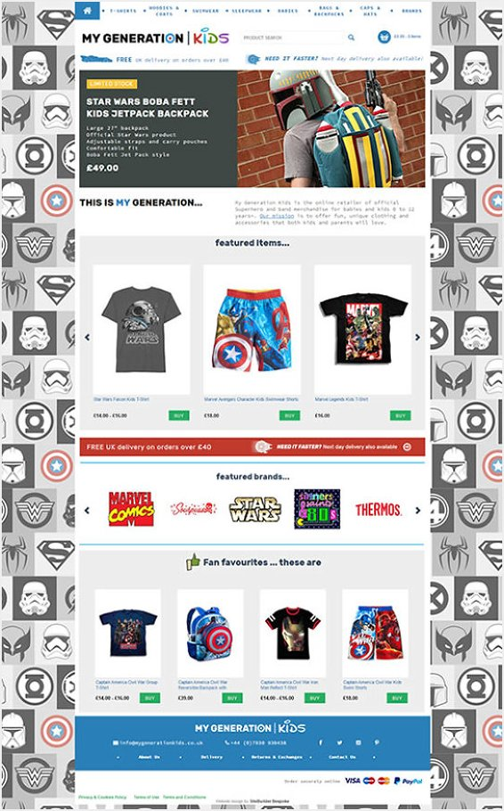 My Generation Kids eCommerce website